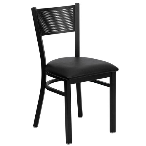 Our Black Grid Back Metal Restaurant Chair with Black Vinyl Seat is on sale now.