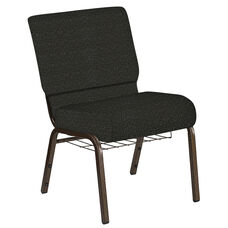 Embroidered 21''W Church Chair in Cobblestone Pewter Fabric with Book Rack - Gold Vein Frame