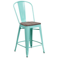 """24"""" High Mint Green Metal Counter Height Stool with Back and Wood Seat"""