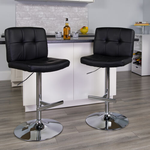 Our Contemporary Vinyl Adjustable Height Barstool with Square Tufted Back and Chrome Base is on sale now.