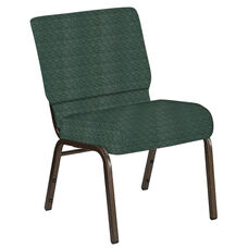 Embroidered 21''W Church Chair in Arches Forest Fabric - Gold Vein Frame