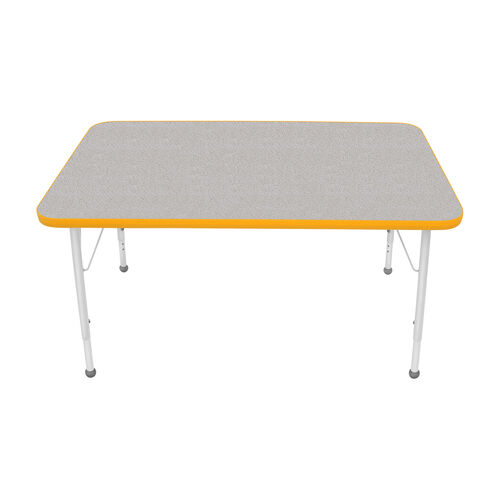 Our Adjustable Standard Height Laminate Top Rectangular Activity Table - Nebula Top with Yellow Edge and Legs - 48