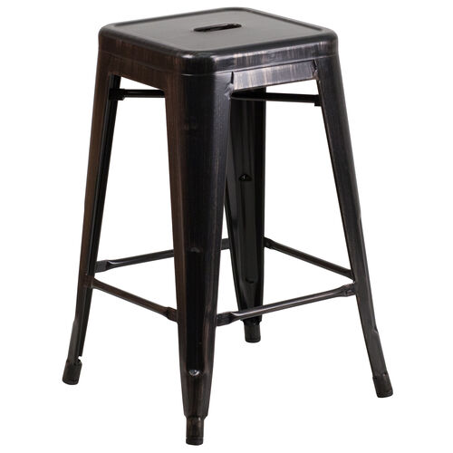 """Our Commercial Grade 24"""" High Backless Black-Antique Gold Metal Indoor-Outdoor Counter Height Stool with Square Seat is on sale now."""