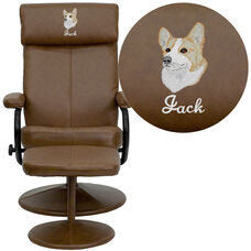 Embroidered Contemporary Palomino Leather Recliner and Ottoman with Leather Wrapped Base