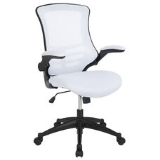 Mid-Back White Mesh Swivel Ergonomic Task Office Chair with Flip-Up Arms