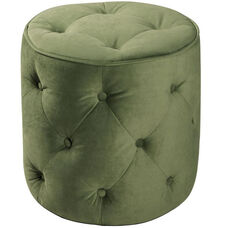 Ave Six Curves Button Tufted Round Ottoman - Spring Green Velvet