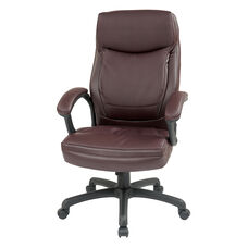 Work Smart Executive High-Back Eco-Leather Office Chair with Seat Adjustment - Burgundy