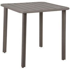 Vista Outdoor Square Aluminum Table with Umbrella Hole - Earth
