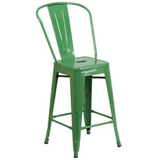 "Commercial Grade 24"" High Green Metal Indoor-Outdoor Counter Height Stool with Removable Back"