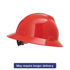 MSA V-Gard Hard Hats - Fas-Trac Ratchet Suspension - Size 6 1/2 - 8 - Red