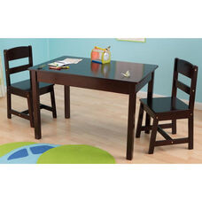 Kids Three Piece Wooden Rectangle Table and Two Matching Chairs Set - Espresso