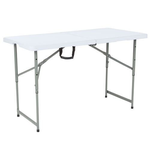 "Our 24""W x 48""L Height Adjustable Bi-Fold Granite White Plastic Folding Table is on sale now."
