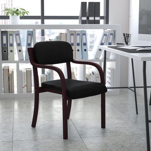 Contemporary Wood Side Reception Chair with Arms and Black Fabric Seat