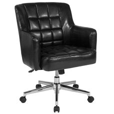 Laone Home and Office Upholstered Mid-Back Chair in Black Leather