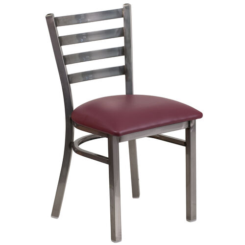 Our Clear Coated Ladder Back Metal Restaurant Chair with Burgundy Vinyl Seat is on sale now.
