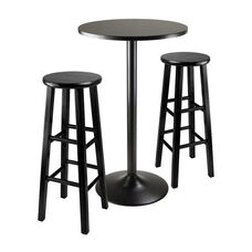Obsidian 3-Pc Pub Table Set with 2 Wood Stools in Black