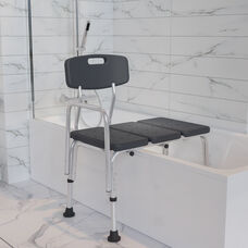 HERCULES Series 300 Lb. Capacity Adjustable Gray Bath & Shower Transfer Bench with Back and Side Arm