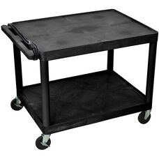 2 Shelf High Open A/V Utility Cart with 3 Outlet Surge - Black - 32