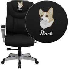 Embroidered HERCULES Series Big & Tall 400 lb. Rated Black Fabric Ergonomic Office Chair with Silver Arms