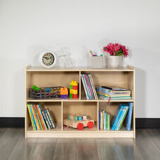 """Wooden 5 Section School Classroom Storage Cabinet for Commercial or Home Use - Safe, Kid Friendly Design - 24""""H x 36""""L (Natural)"""