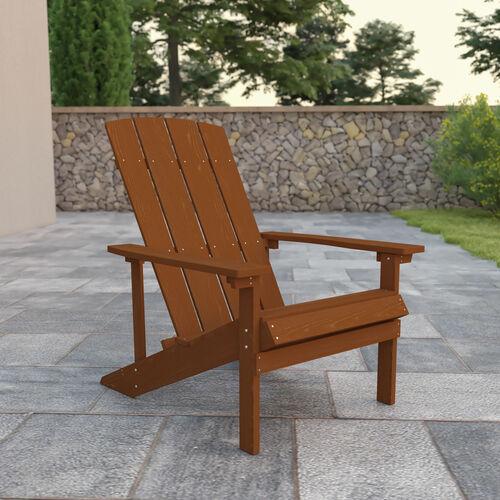Charlestown All-Weather Poly Resin Wood Adirondack Chair in Teak