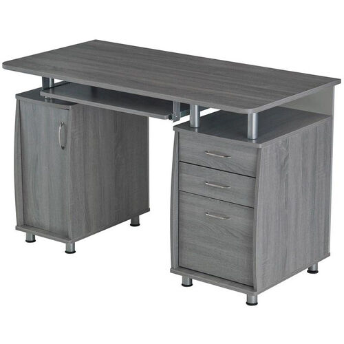Techni Mobili Complete Workstation Computer Desk with Storage and Pullout Keyboard Tray - Gray