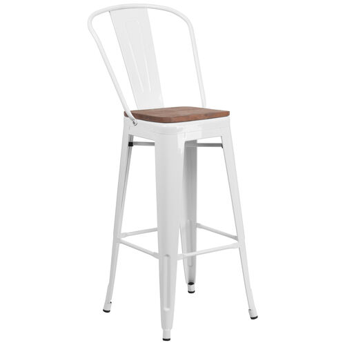 """Our 30"""" High White Metal Barstool with Back and Wood Seat is on sale now."""