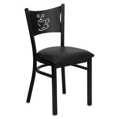 Our Black Coffee Back Metal Restaurant Chair with Black Vinyl Seat is on sale now.
