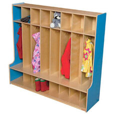 Blueberry 8-Section Seat Lockers with Two Coat Hooks in Each Section - Assembled - 54