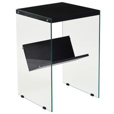 Highwood Collection Dark Ash Wood Grain Finish End Table with Shelves and Glass Frame