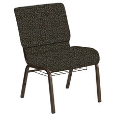 Embroidered 21''W Church Chair in Jasmine Chocaqua Fabric with Book Rack - Gold Vein Frame