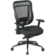 Space 818 Breathable Mesh Back and Black Leather Seat Executive Chair with 2-to-1 Synchro Tilt - Black