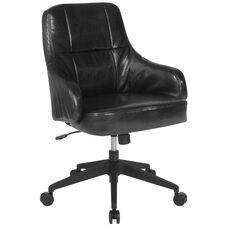 Dinan Home and Office Upholstered Mid-Back Chair in Black LeatherSoft