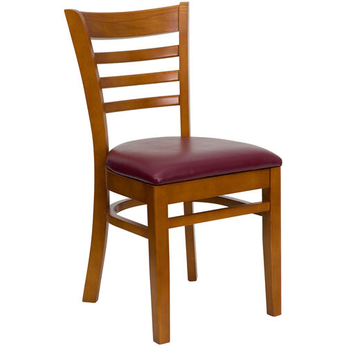 Our Cherry Finished Ladder Back Wooden Restaurant Chair with Burgundy Vinyl Seat is on sale now.