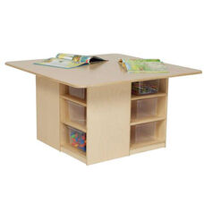 Healthy Kids Plywood Cubbie Table with Twelve Clear Storage Trays Underneath - Assembled - 36