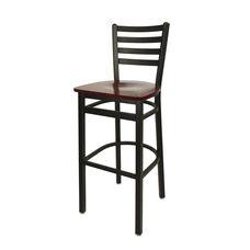 Lima Metal Ladder Back Barstool - Mahogany Wood Seat