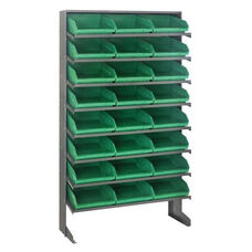 Sloped Shelving Single Sided Pick Rack Unit with 24 Bins - Green