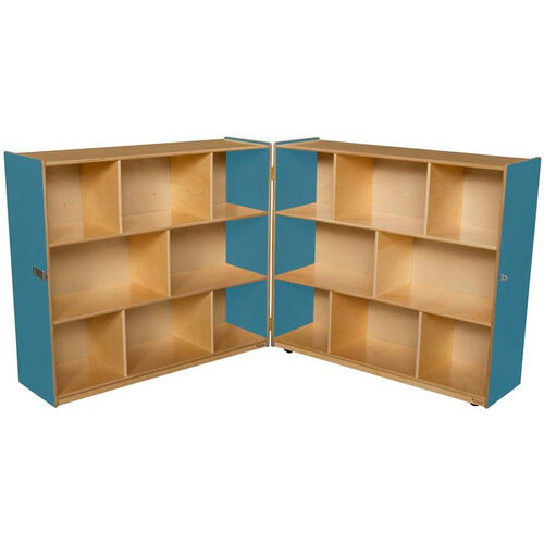 Our Wooden 16 Compartment Double Folding Mobile Storage Unit - Blueberry - 96