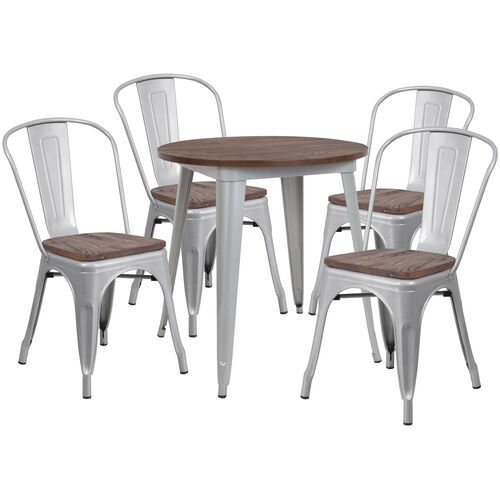 """26"""" Round Silver Metal Table Set with Wood Top and 4 Stack Chairs"""