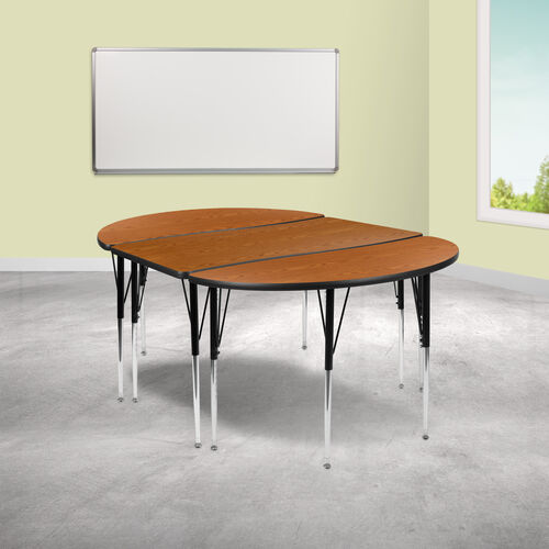 """3 Piece 76"""" Oval Wave Collaborative Oak Thermal Laminate Activity Table Set - Standard Height Adjustable Legs"""