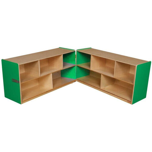 Our Wooden 10 Compartment Double Folding Mobile Storage Unit - Green Apple - 96