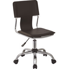 Ave Six Carina Vinyl Task Chair with Adjustable Seat Height and Chrome Base - Espresso