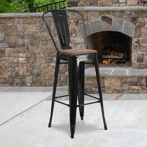 """Our 30"""" High Black Metal Barstool with Back and Wood Seat is on sale now."""