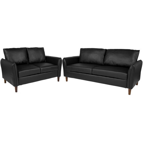 Our Milton Park Upholstered Plush Pillow Back Loveseat and Sofa Set in Black LeatherSoft is on sale now.