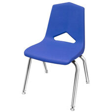 MG Series V-Back Steel Frame Stack Chair with 14''H Seat - Blue Seat and Chrome Frame - 15.5''W x 17.3''D x 26''H