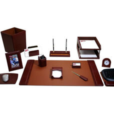 Classic Leather 16 Piece Desk Set - Mocha