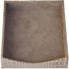 Protacini Italian Patent Leather Front-Load Letter Tray - Breeze Beige