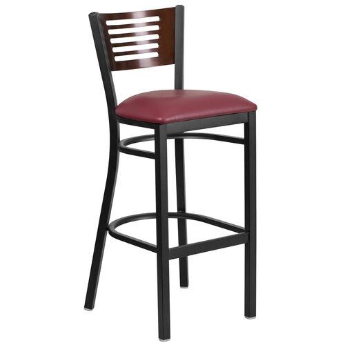Our Black Decorative Slat Back Metal Restaurant Barstool with Walnut Wood Back & Burgundy Vinyl Seat is on sale now.