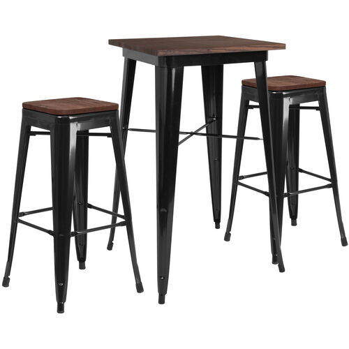 """Our 23.5"""" Square Black Metal Bar Table Set with Wood Top and 2 Backless Stools is on sale now."""