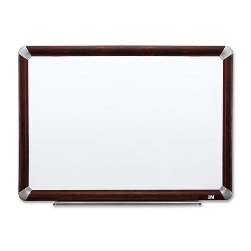 3M Dry -Erase Board -withMarker/Accessory Tray - Mahogany